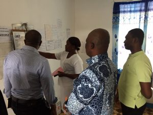 Representatives from Health Strategy Delivery Foundation, Accelerator and USAID/Liberia receive a tour of a primary facility.
