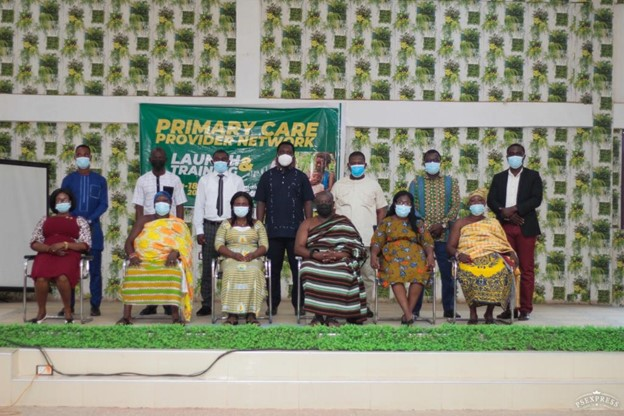 PCPN Launch in Atebubu Amantin District (Facilitation Team with Key stakeholders including DDHS, District Coordinating Director, District NHIS Manager, Med director of DH, head of the traditional council and queen mothers). Photo Credit: The Accelerator