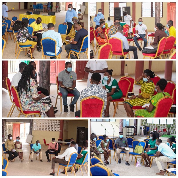 Newly formed PCP Network members sit to develop their network profile – Atebubu Amantin. Photo Credit: The Accelerator